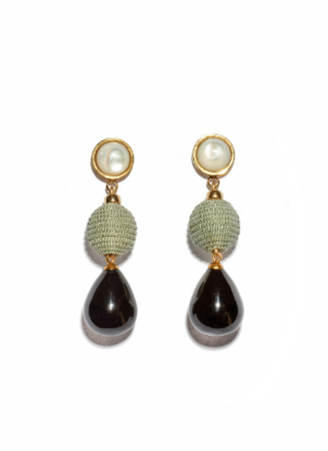 Lizzie Fortunato Moss and Agate Drop Earrings Jewelry