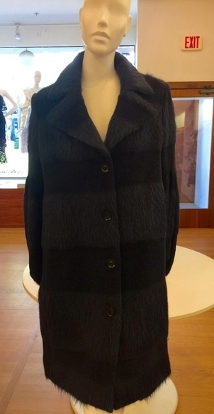 Lela Rose Lela Rose Full Sleeve Mohair Coat in Navy Outerwear