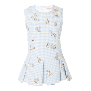 Brock Collection Tara Dusty Blue Gingham Top Tops