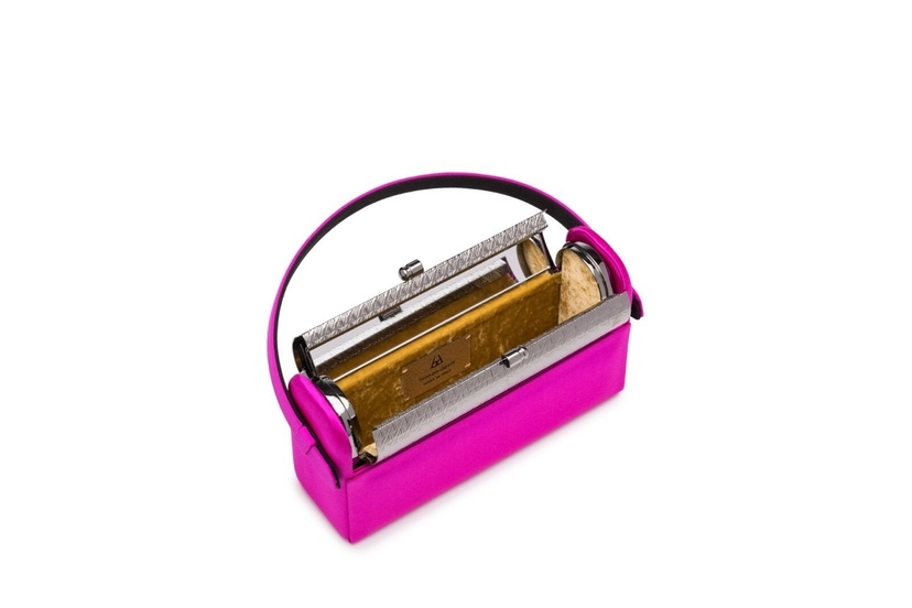Bienen Davis Regine Minaudiere in Fuchsia Satin with Gunmetal Finished Hardware Bags