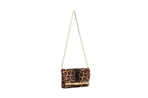 Bienen Davis PM Clutch in Leopard Print Calf Hair with Gold Finished Hardware  Bags