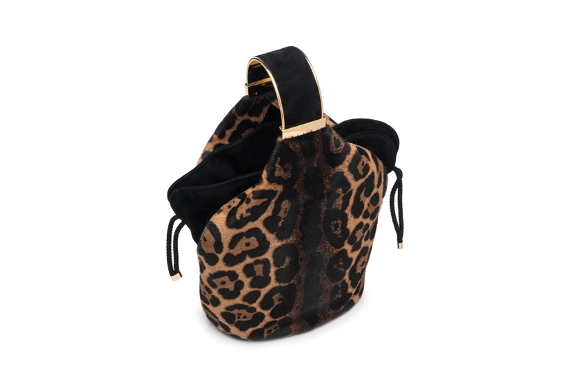 Bienen Davis Kit Bag in Leopard Calf Hair with Gold Finished Hardware Bags