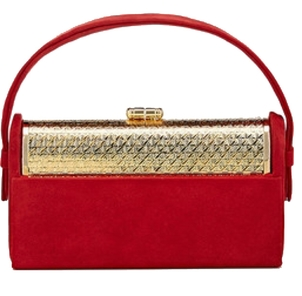 Bienen Davis Regine Minaudière in Wine Velvet with Gold Finished Hardware Bags