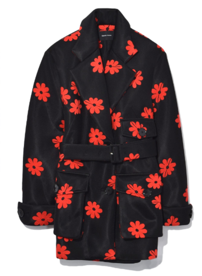 Belted Three Pocket Jacket in Black/Red