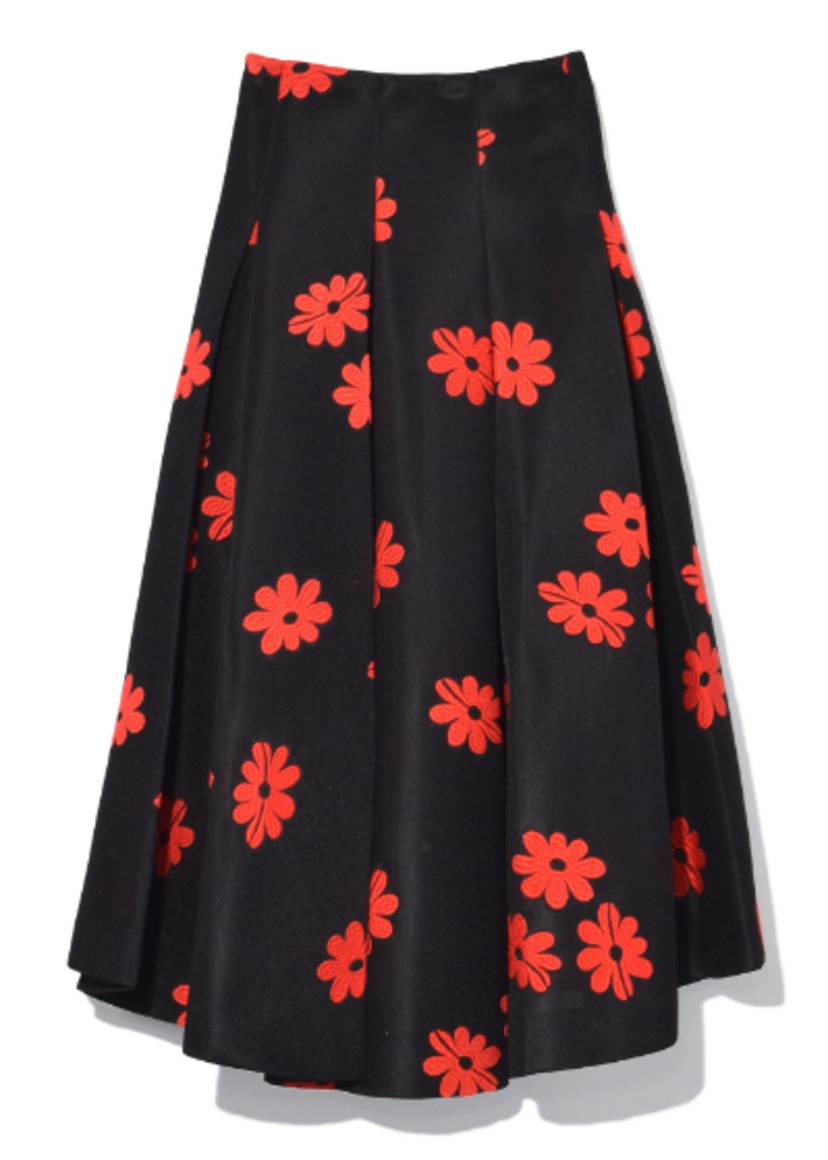 Pleat Front Skirt in Black/Red