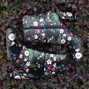 Valentino Valentino Black Leather & Floral Print Short Boots 38 Shoes