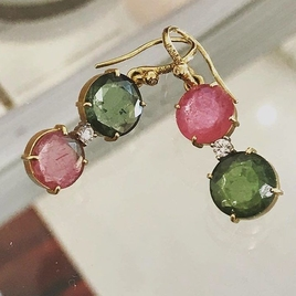 Pink & Green Tourmaline Mismatched Earrings