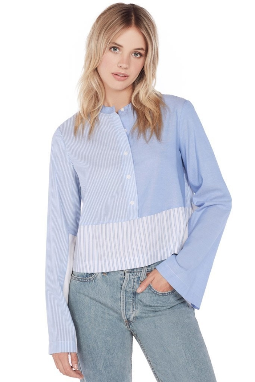 Derek Lam 10 Crosby Derek Lam 10 Crosby L/S Mixed Button Down Shirt - Blue Tops