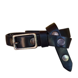 Embrazio Filo Skinny Leather Belt Black with Antique Brass Accessories
