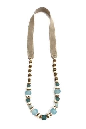Twine & Twig Long Classic Necklace in Aqua & Taupe Jewelry
