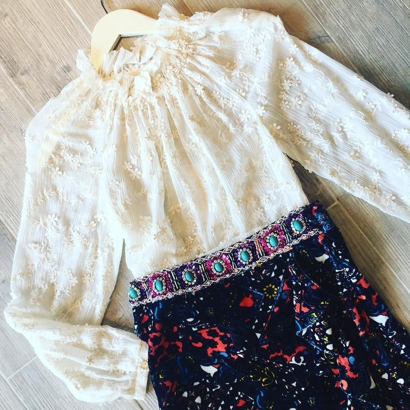 Ivory Blouse and Beaded Skirt