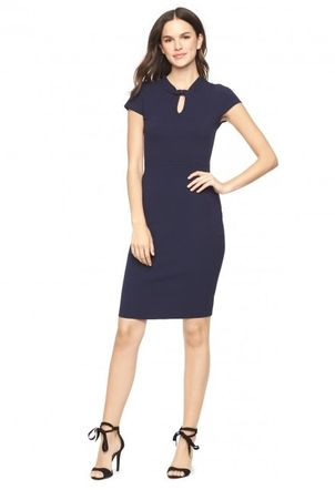Milly Twist Neck Sheath Dress in Navy Dresses
