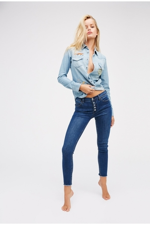 Free People Reagan Button Front Jean Pants