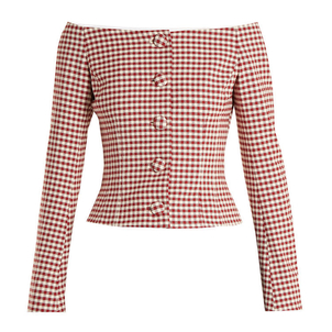 Brock Collection Red Gingham Jackie Jacket Tops