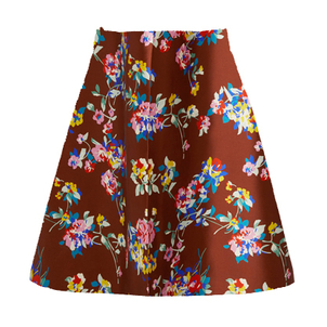 Delpozo Floral Printed Silk Skirt Skirts