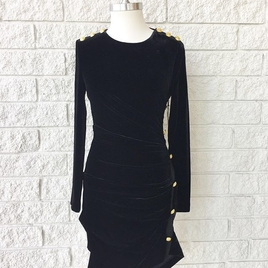 Long Sleeve Black Dress with Gold Buttons