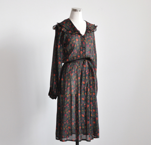 Just Say Native Jane Andre Dark Floral Silk Dress Dresses