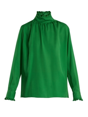 Gucci Long Sleeve High Neck Shirt in Green Tops