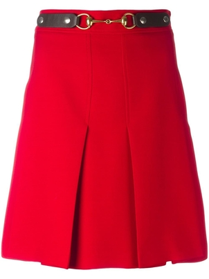 Gucci Red Woven Pleated Horsebit Skirt Skirts
