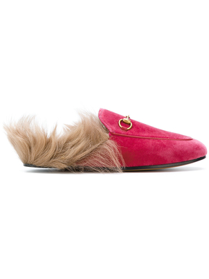 Gucci Velvet Mule with Fur in Raspberry Shoes