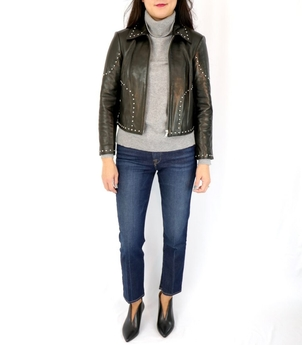 FRAME Studded Leather Jacket Outerwear