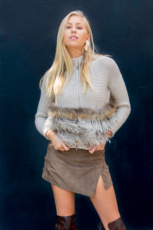 Fabiana Filippi Cashmere Feathered Sweater + Suede Mini Skirt Tops
