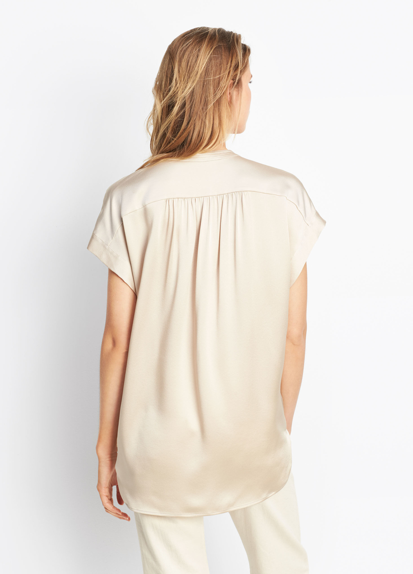 Vince Shirred Neck Pullover Tops