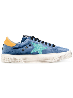 Golden Goose Deluxe Brand May Sneaker in Blue Velvet Shoes