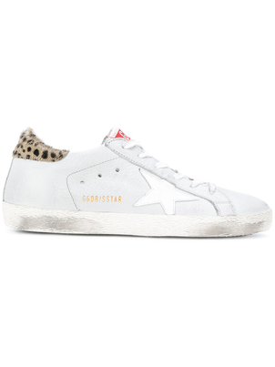 Golden Goose Deluxe Brand Superstar Sneaker in White w/ Cheetah Shoes