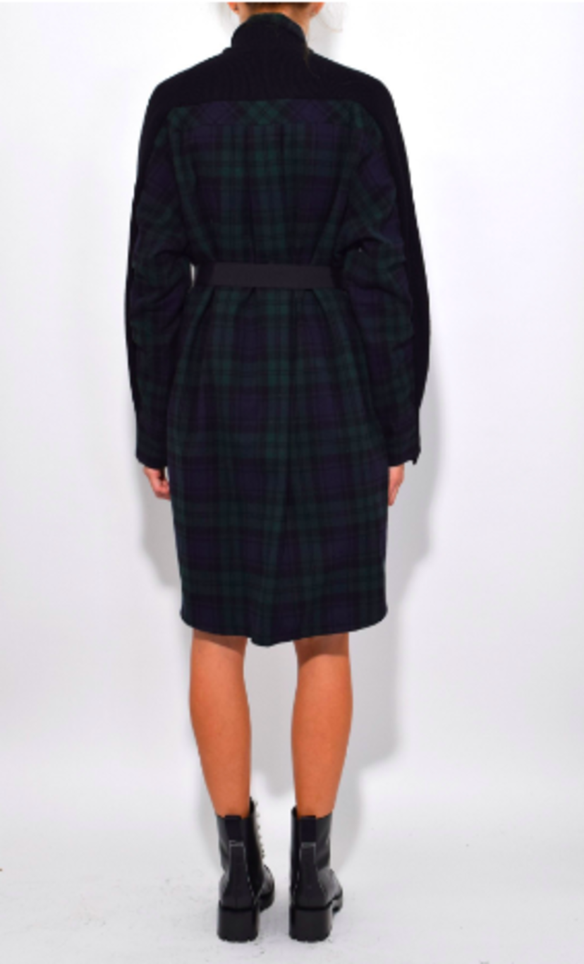 Sacai Flannel Plaid Dress in Black Dresses Tops