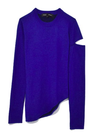 Proenza Schouler Long Sleeve Asymmetric Pullover in Purple Tops