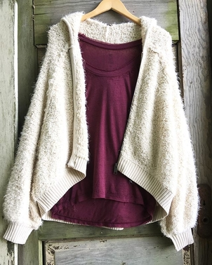 Free People Furry Time Zip Up Tops