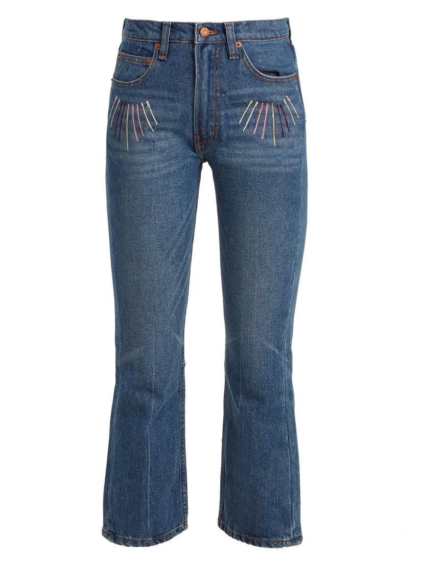 Bliss and Mischief Bliss & Mischief Sunrise-Embroidered High-Rise Cropped Jeans Pants