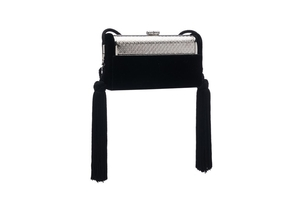Bienen Davis Régine Minaudiere with Silk Tassels in Black Velvet and Silver Finished Hardware Bags