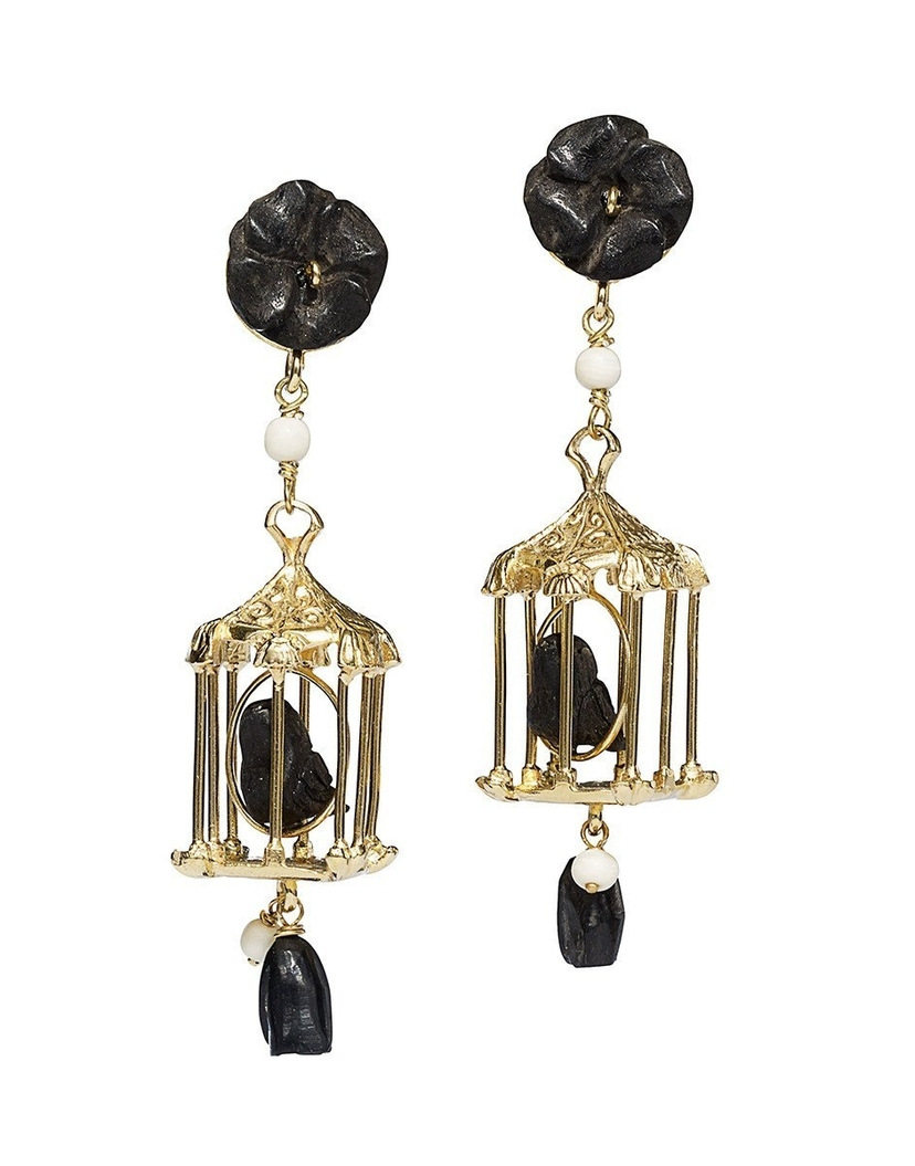 Of Rare Origin Black and Gold Pagoda Earrings Jewelry