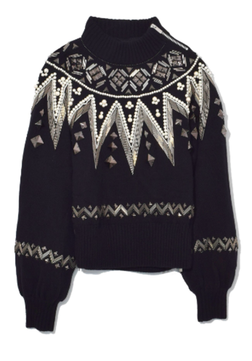 Sacai Beaded Knit Pullover in Black Tops