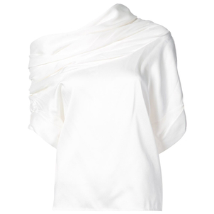 Monse White Cowl Neck Top Tops