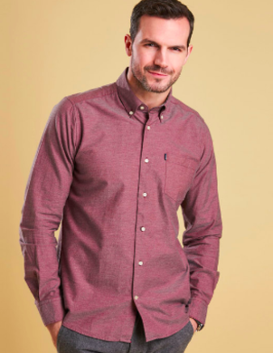 Barbour Oxford Dark Red Shirt Tops