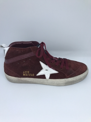 Golden Goose Deluxe Brand Golden Goose Mid Star Sneaker Wine Suede Shoes