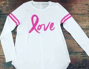 Chaser Pink Ribbon Love Shirt Tops