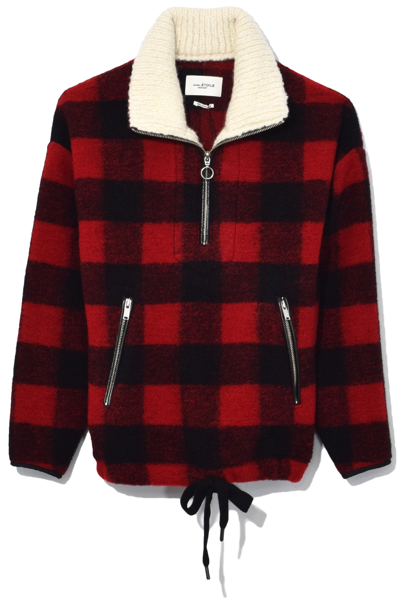 Isabel Marant Étoile Gilas Coat in Black/Red Outerwear
