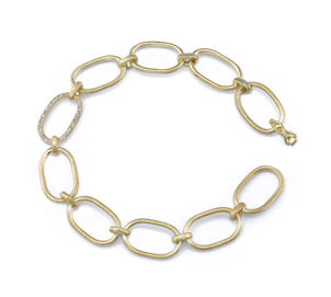 Irene Neuwirth 18K Yellow Gold Large Link Bracelet with One Diamond Pave Link Jewelry