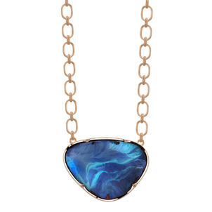 Irene Neuwirth Boulder Opal on Rose Gold Chain Necklace Jewelry