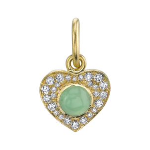 Irene Neuwirth Diamond Pave and Chrysoprase Heart Charm Jewelry