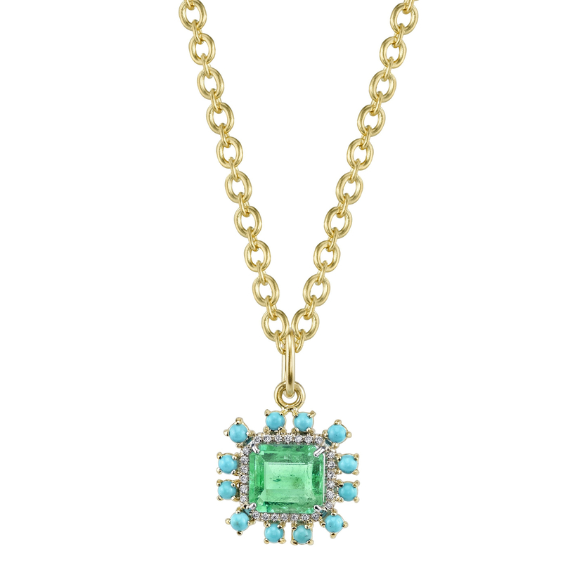 Irene Neuwirth Colombian Emerald and Turquoise with Diamond Pave Charm Jewelry