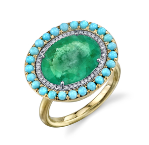 Irene Neuwirth Colombian Emerald with Diamond and Turquoise Pave Ring Jewelry