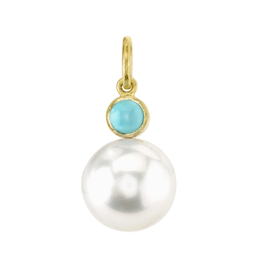 Irene Neuwirth 18K Yellow Gold Pearl and Turquoise Pendant Jewelry