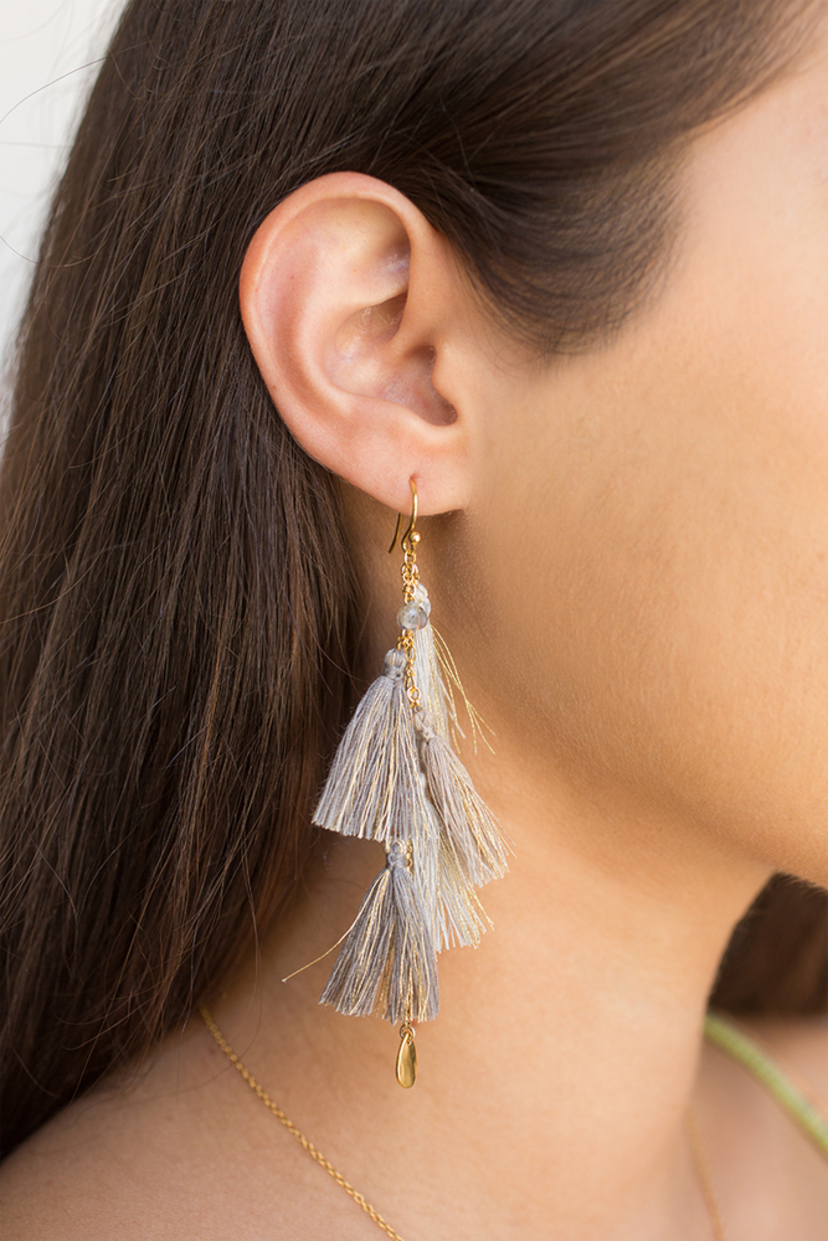 Chan Luu Grey Mix Metallic Tassel Earrings Jewelry