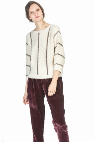 Leo & Sage Metallic Stripe Dolman Sweater Tops