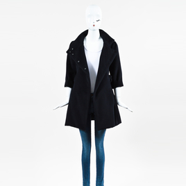 By Malene Birger Black Wool Double Breasted Bow Pocket 3 Quarter Sleeve Coat